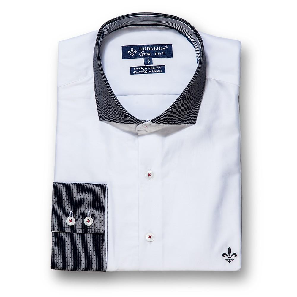 dadf8e5675 Camisa Cetim Dudalina Masculina Slim Fit Branca Algodão Egípicio.
