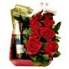 Cesta de presente com rosas para Namorados