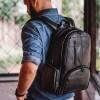 costas Mochila masculina de couro para notebook Black Edition Nordweg NW072B