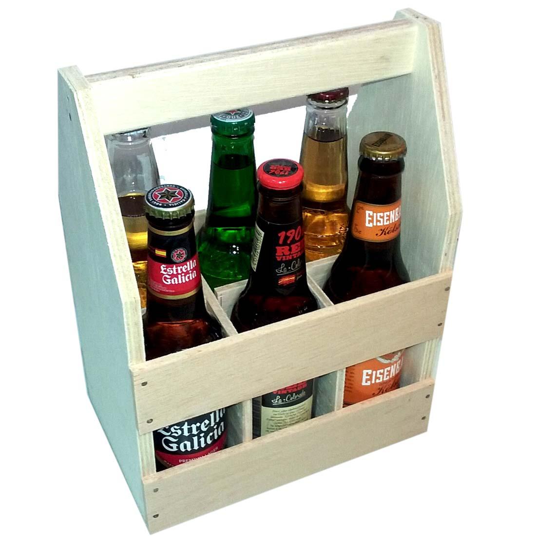 kit cerveja para presente com engradado de madeira