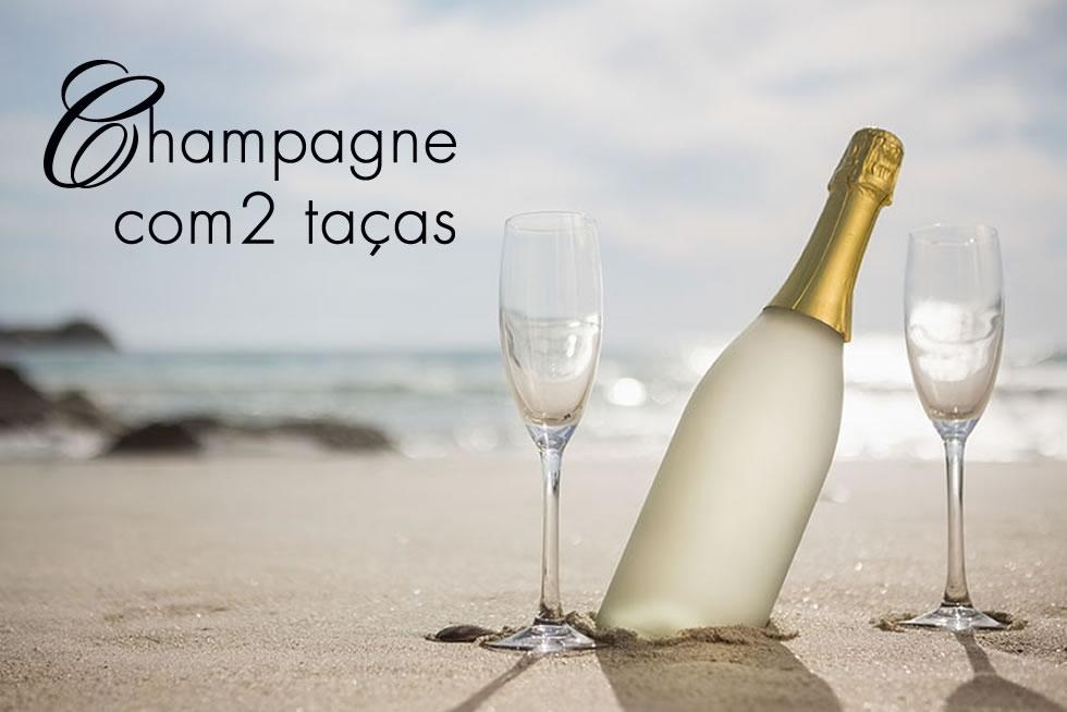 champagne com duas taças presente