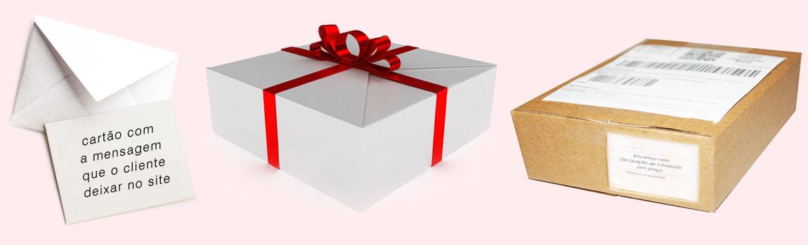 embalagem e cartão de presente com entrega rapida